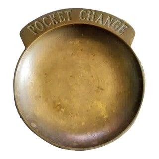 Vintage Brass Pocket Change Small Trinket Plate Tray For Sale