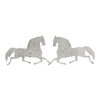 Salvaged Metal Horse Wall Hangings - a Pair For Sale