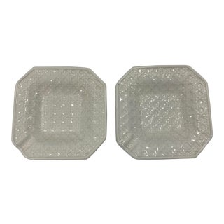 Italian Faux-Caning Ceramic Ashtrays, Set of 2 For Sale
