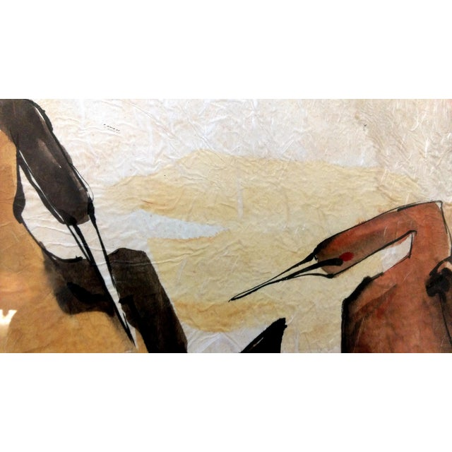 Asian Waterbird Ink & Watercolor Diptych - A Pair - Image 7 of 10