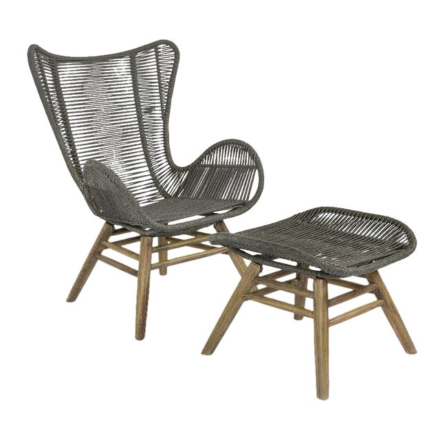 Neptune Outdoor Patio Lounge Chair and Ottoman Set, Slate Gray For Sale