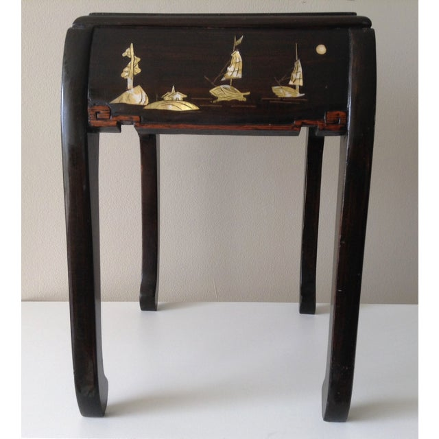 Asian Mother of Pearl & Abalone Inlay Side Table - Image 7 of 11