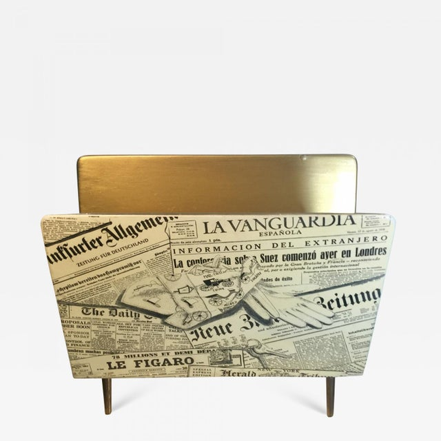 1950s Bucciarelli Itallian Mid Century Magazine Rack in the Manner of Piero Fornasetti For Sale - Image 10 of 10
