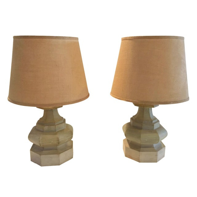 Mid-Century Carved Table Lamps - A Pair - Image 1 of 6