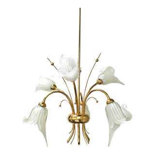 Hollywood Regency Murano Glass Gold Plated Brass Calla Lily Chandelier For Sale