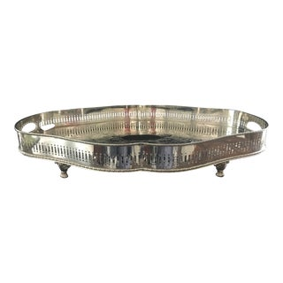 Late 20th Century Sheffield England Gallery Silver Tray For Sale