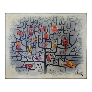 Large Format Lee Reynolds Birds of a Feather Tree of Life Op Pop Painting For Sale