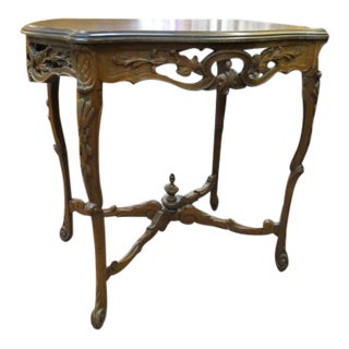 Vintage Antique French Style Carved Walnut Side Table For Sale