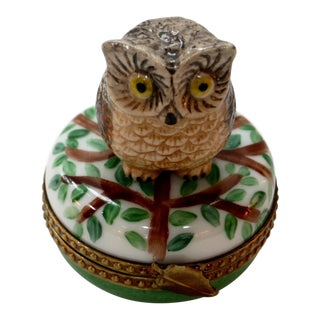 20th Century Shabby Chic Limoges France Owl and Tree Hand Painted Box For Sale