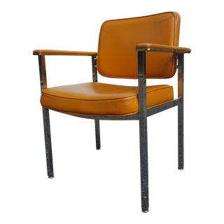 Vintage Mid-Century Modern Orange Vinyl Chrome Accent Chair