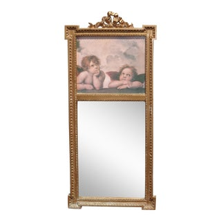 Vintage French Country Shabby Chic Wall Mirror Cherubs For Sale
