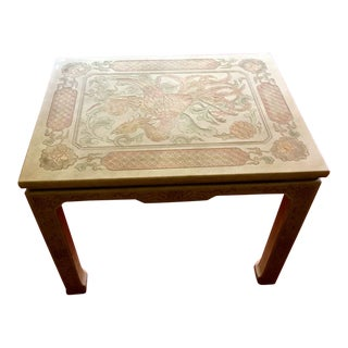 1980's Chinoiserie Custom John Widdicomb Mario Buatta Incised Phoenix Lamp Table For Sale