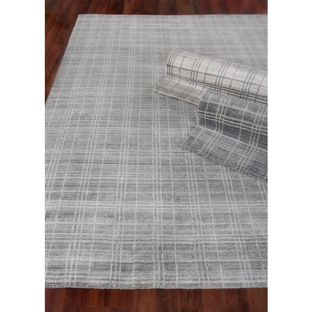 """Cambridge Hand loom Bamboo/Silk Blue/White Rug-14'x18"""" For Sale In Los Angeles - Image 6 of 9"""