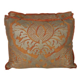 Pair of Burnt Orange & Silvery Gold Fortuny Pillows For Sale