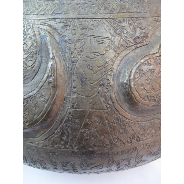 Egyptian Revival 19th Century Arabic & Hebrew Calligraphy & Egyptian Figures Hebraic Revival Brass Pot For Sale - Image 3 of 10
