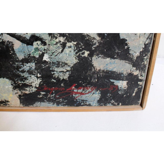 Acrylic Large Abstract Expressionist Painting in Black and Green by Artist Jacques Lamy For Sale - Image 7 of 8
