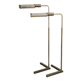 Casella Adjustable Brass Pharmacy Floor Lamps - a Pair For Sale