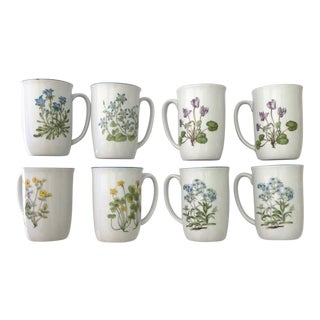 Botanical Mugs, Set of 8 For Sale