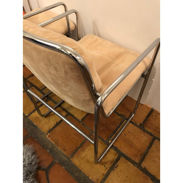 Milo Baughman Style Mid Century Modern Ultra Suede and Chrome Club Chairs- a Pair For Sale - Image 9 of 10