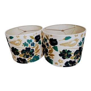 Chinoiserie Floral Gold, Teal Blue and Navy Drum Lamp Shades- a Pair
