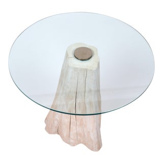 Round Mid-Century Modern Tree Stump Glass Side Table