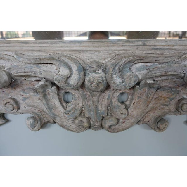 Antique Italian Carved Painted Mirror - Image 5 of 8