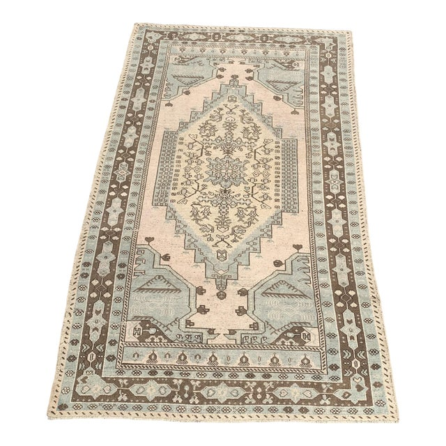"1950's Vintage Turkish Oushak Wool Rug - 4'8"" x 8'1"" For Sale"