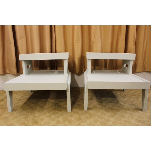 Mid-Century 1950s Step End Tables - A Pair - Image 6 of 9