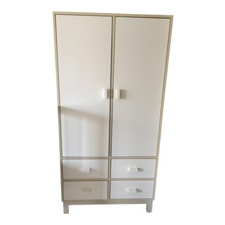 Mid-Century Campaign Ducduc White Wood Armoire