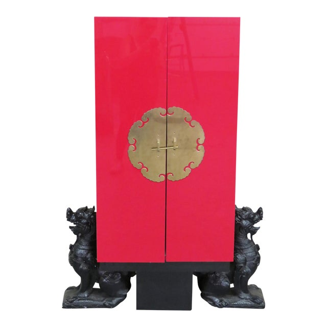 Karl Springer Style Asian Modern Red Lacquered Cabinet For Sale