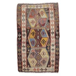 1960's Vintage Turkish Kilim Rug- 3′2″ × 5′2″