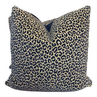 "Scalamandre ""Panthera Velvet"" in Indigo 22"" Pillows-A a Pair For Sale"