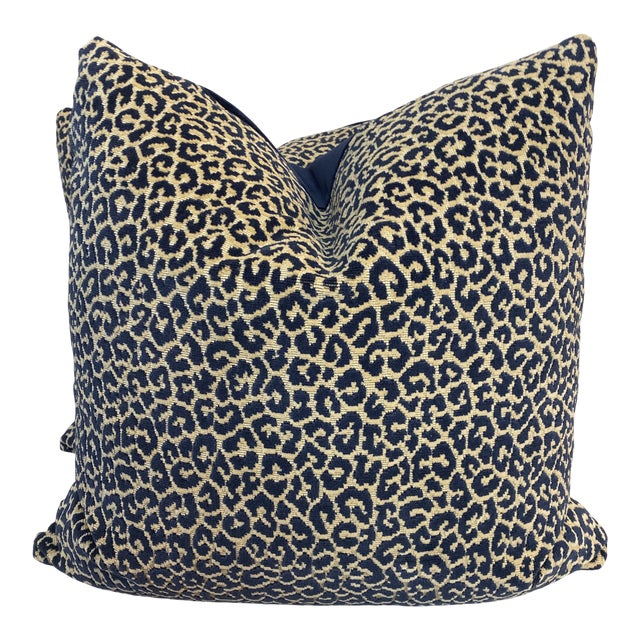 """Scalamandre """"Panthera Velvet"""" in Indigo 22"""" Pillows-A a Pair For Sale"""