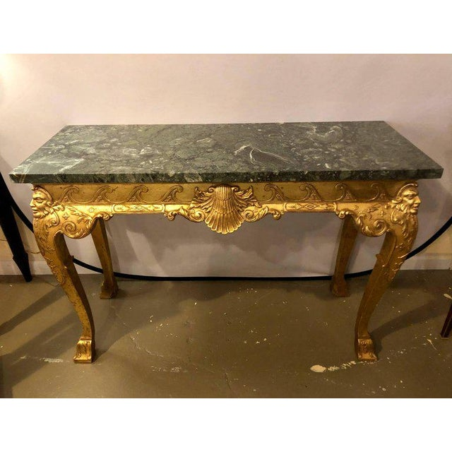 Pair George II Style Carved Giltwood And Marble Console Tables Late 19th Century. Olive Green And White-Veined Marble Top....