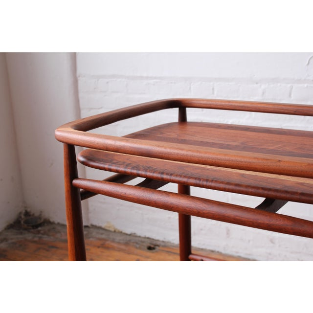 "Mid-Century Modern 1950s Scandinavian Restored ""Boomerang"" Solid Walnut Bar Cart For Sale - Image 3 of 10"