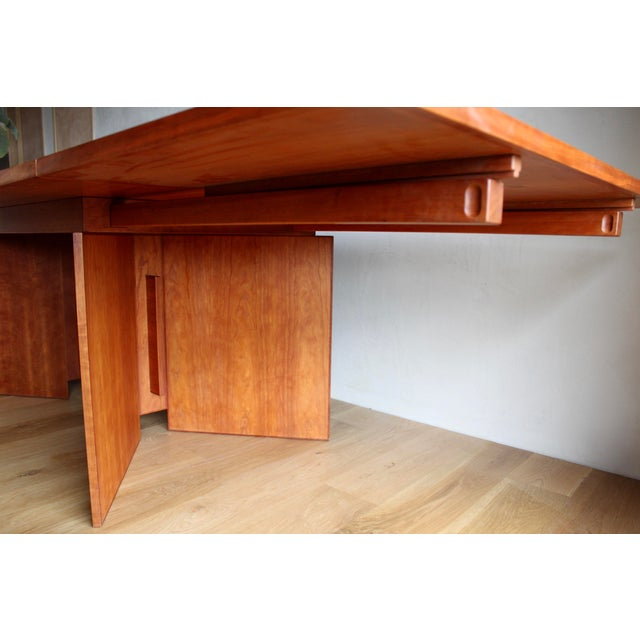 1990s Vintage Custom Usonian Frank Lloyd Wright Taliesin Style Prairie Arts and Crafts Cherry Expanding Dining Table, Seats 8-16+ For Sale - Image 5 of 13