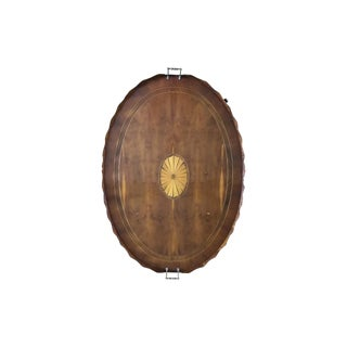 Regency Oval Inlay Handled Tray Coffee Table For Sale