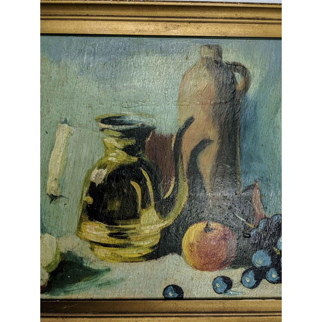 Figurative Vintage Oil Still Life Painting With Gold Frame For Sale - Image 3 of 7
