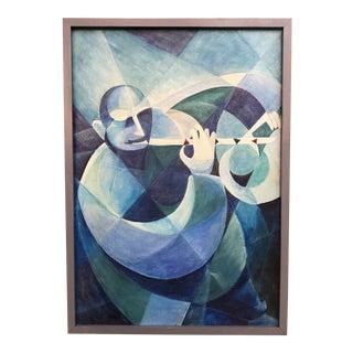Original Cubism Oil on Board Painting, Framed For Sale