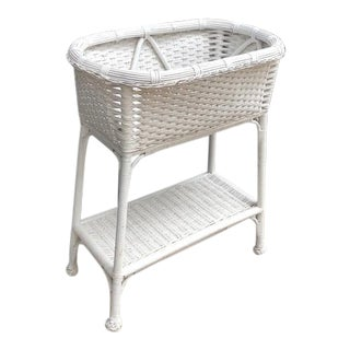 White Wicker Plant Stand For Sale
