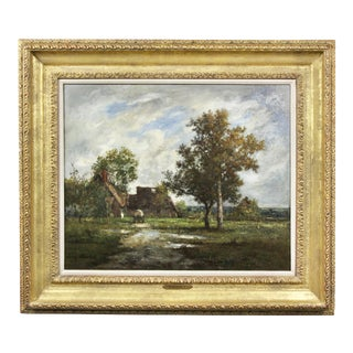 Oil on Panel Painting by Leon Richet For Sale