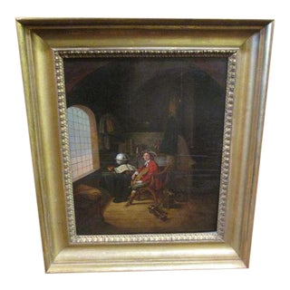 """Antique Oil On Wood Panel After Old Master Gerrit Dou """"The Young Violinist"""" c.Late 18th-Early 19th Century"""