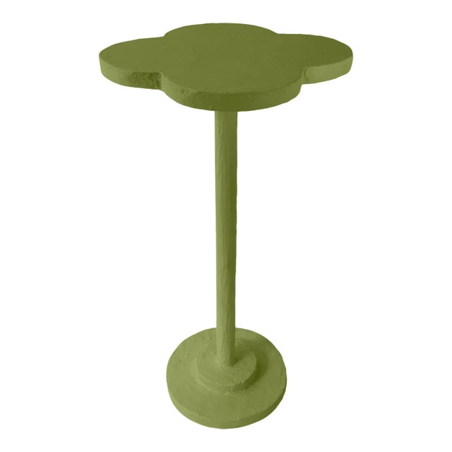 Contemporary Atrium Accent Table in Timson Green For Sale - Image 3 of 3