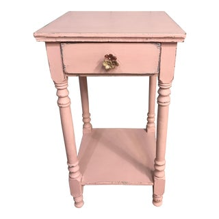 Vintage Pink Distressed Country Nightstand