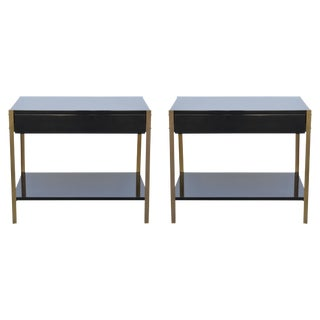 "Contemporary Design Frères ""Laque"" Black Lacquer and Brass Nightstands - a Pair For Sale"