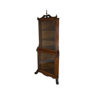 Antique Victorian Oak Corner China Display Cabinet For Sale