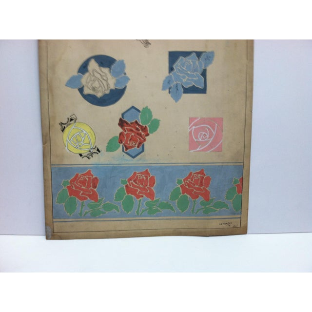 """American 1924 Vintage """"Designs From Roses"""" Sign by Thomas Sturges Jr. For Sale - Image 3 of 6"""