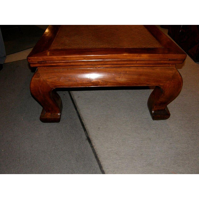 19th Century Chinese Chow Leg Coffee Table with Woven Mat Top For Sale In New York - Image 6 of 8