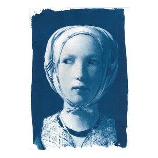 Georges De La Tour, The Fortune Teller (detail), Handmade Cyanotype Print on Watercolor Paper, Limited Serie, A4 For Sale