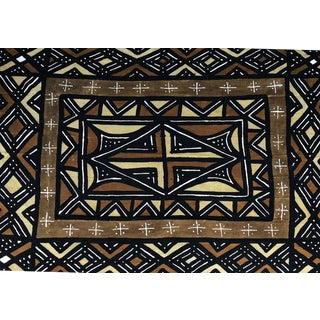 "Superb Lg Bogolan Mali Mud Cotton Cloth Textile 60"" by 84"" For Sale"
